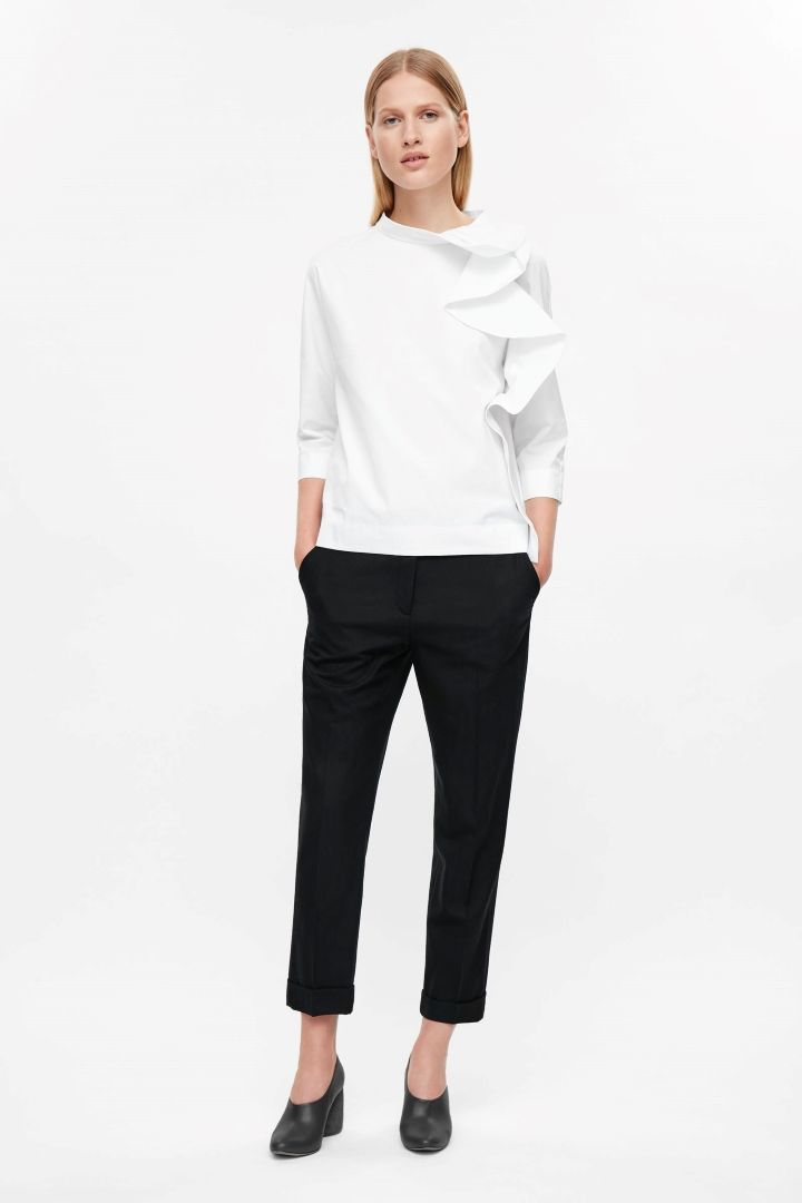 COS image 1 of Rounded drape blouse in White