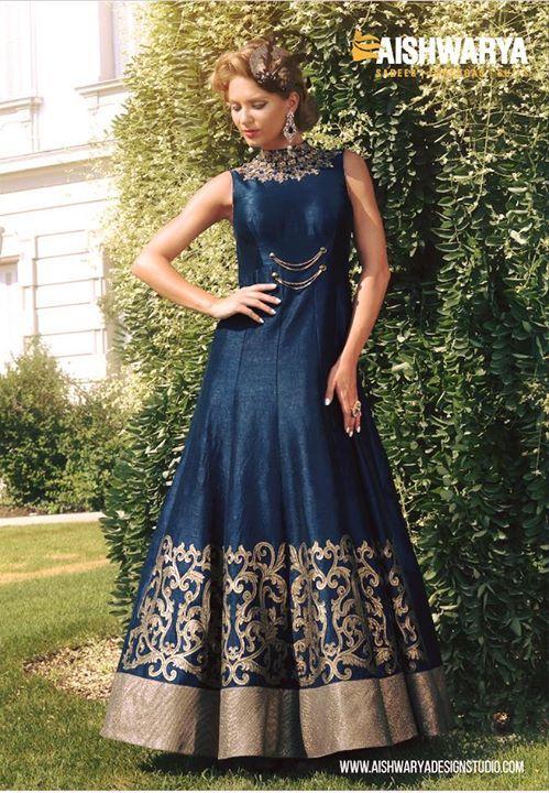 Look glamorous in this ultra chic anarkali suit by #aishwaryadesignstudio... shop anarkali suit: http://aishwaryadesignstudio.com/neck-style-blue-color-anarkali-suit-in-raw-silk