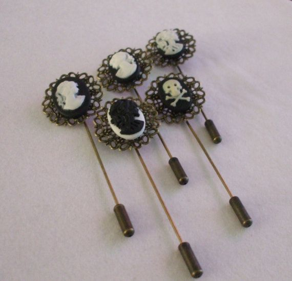 Steampunk #Cameo Hat Lapel Pins Set 5pcs by OneStopSteamShoppe, $60.00