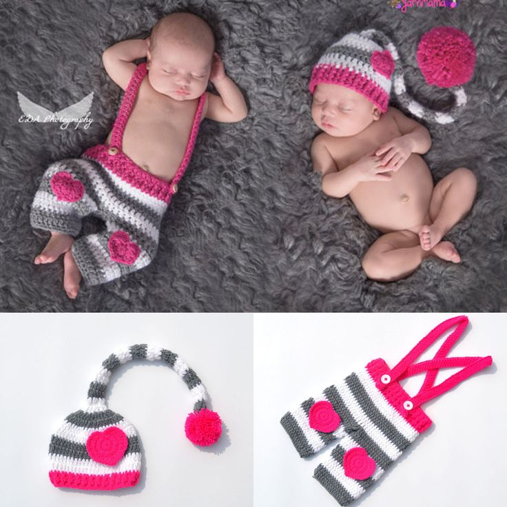 Lovely Pink Crochet Knit Baby Long Tail Beanies and Handmade Stripe Toddler Trousers Set Newborn Photography Prop 0 - 9 M #Affiliate
