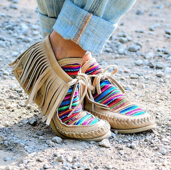rainbow serape moccasins