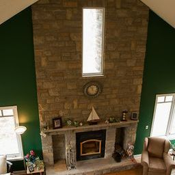 great room fireplace from loft