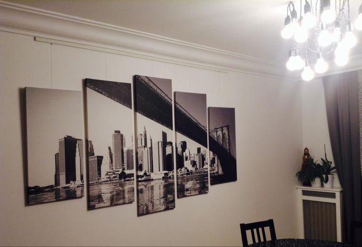 Tableau pentaptyque de new york pont de brooklyn en noir - Tableau de new york ...