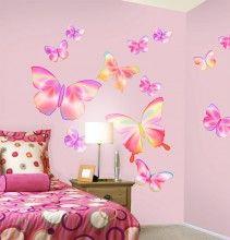 Fluttering Butterfly Pink Wall Stickers http://www.muralsforkids.com/products/Fluttering-Butterfly-Pink-Wall-Stickers.html