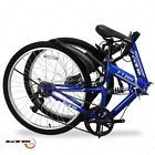 7 Speed Blue Bicycle Folding Mountain Bike Shimano Hybrid Suspension Sports 26""