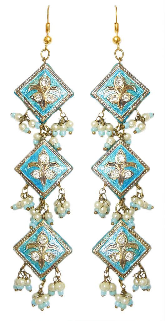 Cyan Blue Drop Lac Earrings (Lac, Bead and Stone)