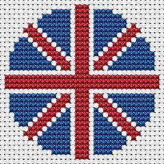 Free Union Jack Biscornu cross stitch pattern #stitching