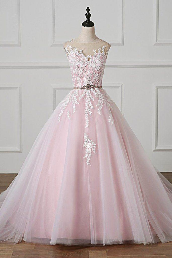f727430d52 Light Pink Scoop Neck Lace Applique Formal Prom Dress