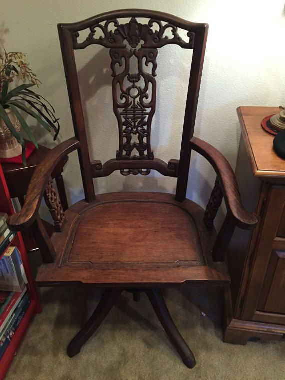Antique Chinese Asian Wood Carved Pedestal High Back Arm Chair