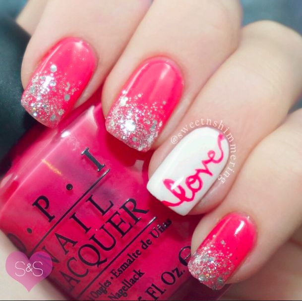 Pink and glitter valentine nail art