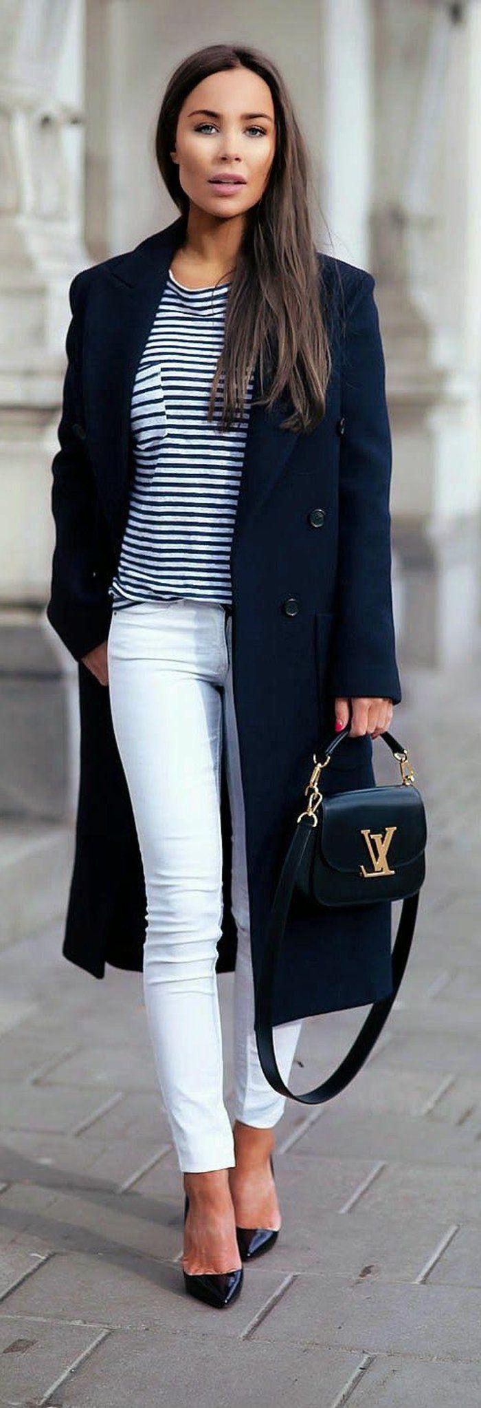 Les 25 meilleures id es de la cat gorie tenue pantalon blanc sur pinterest jean blanc femme - Tenue jean blanc ...
