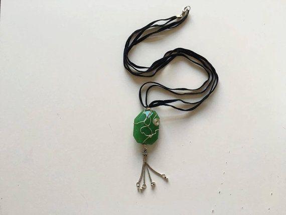 Jade Stone Sterling Silver Jade Stone Necklace Jade Stone