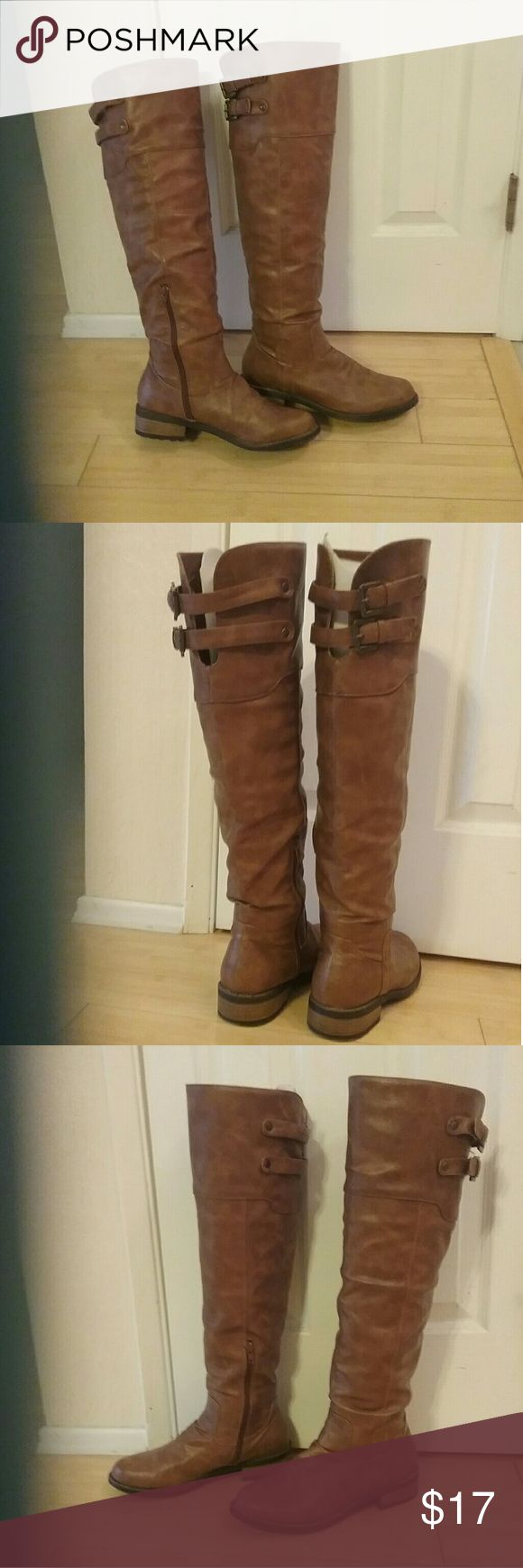 Women's stylish Over the Knee Boots Size 9, earth brown colored, worn <5 times in perfect condition. Man made (not leather) very stylish & comfortable. Shoes Over the Knee Boots