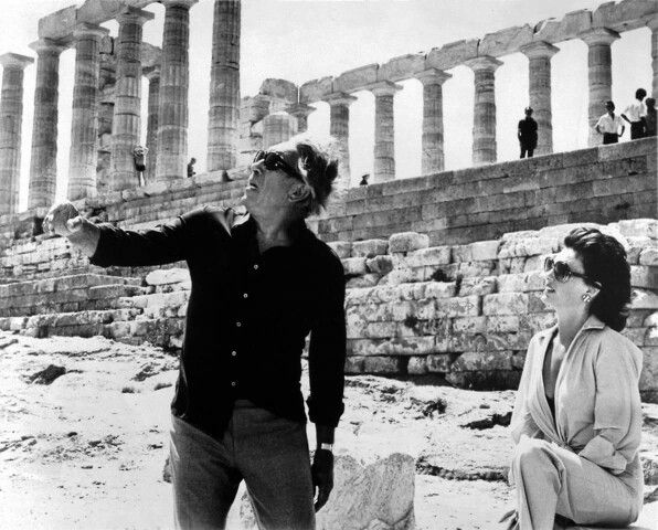 "1978 ~ Anthony Quinn and Jacqueline Bisset at Sounion (the Temple of Poseidon) while filming ""The Greek Tycoon"""