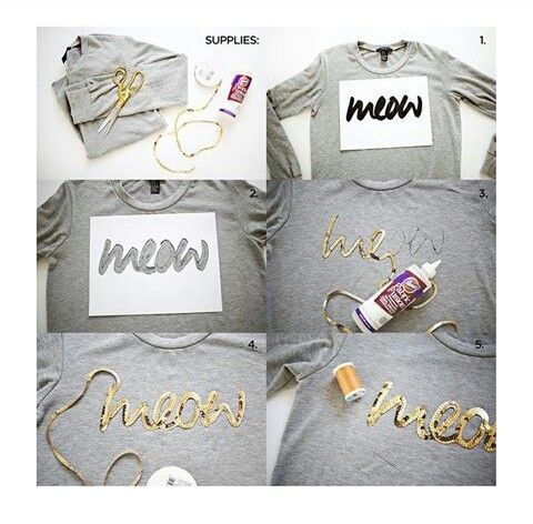 DIY: sequence strip T-shirt Supplies: T-shirt Glue Cursive writing cut out…