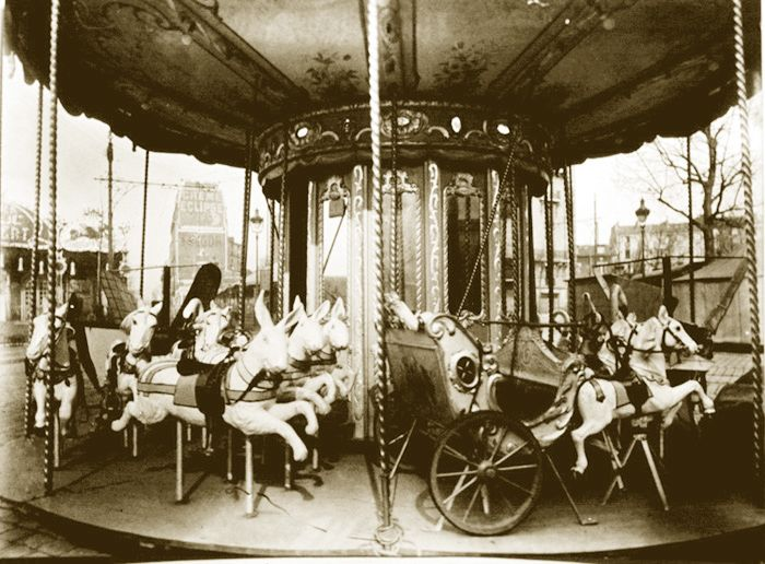 Carousel, Paris (1920's) by French photographer Eugène Atget (1857-1927)
