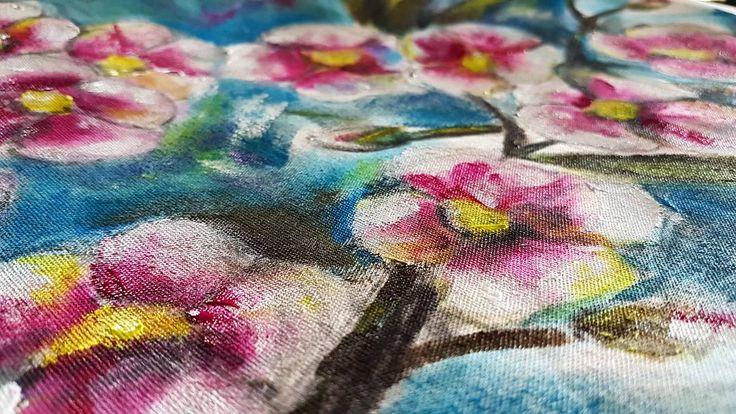 Closeup WIP .  #isiorizado #fabric #acrylicsonfabric #blooms #closeup #colorfull #chalkbagmaybe #madeingreece