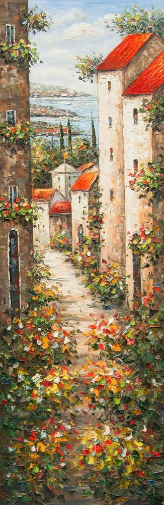 This reminded me of Tuscany Italy and I loved the beautiful colors and the style of the painting.: