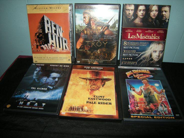6 DVD LOT: Pale Rider, Les Miserables, Ben-Hur, Heat, Troy, Big Trouble in Littl
