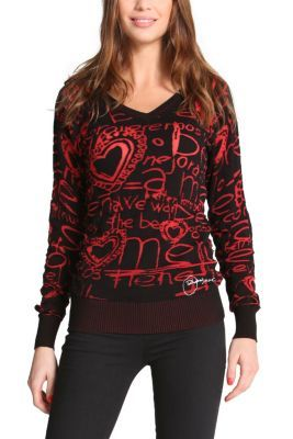 Desigual women's Ulemí jumper. Optimistic messages and hearts: a winning combination for this winter.