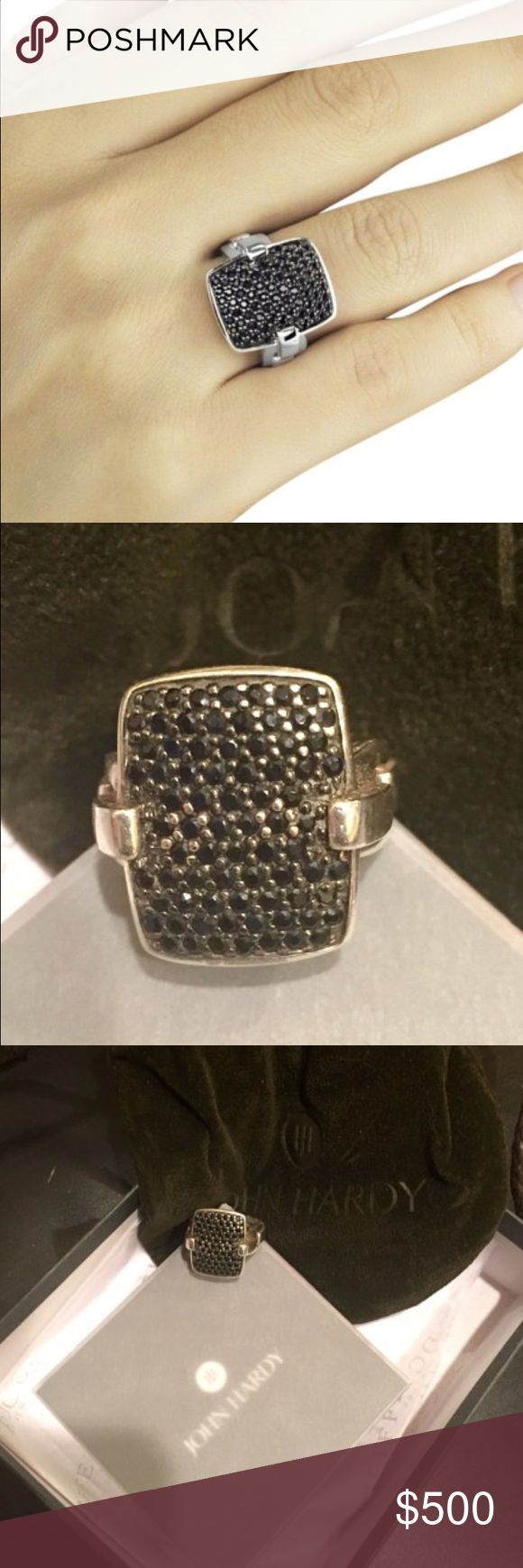 "John Hardy Classic Chain Lava Black Sapphire Ring John Hardy ring boasts a decadently detailed black sapphire front, which adds opulence to the collection's signature silver woven chain. Rectangular face with pave black sapphire, 18mm (7/10""), 1.672 total carat weight. John Hardy Jewelry Rings"