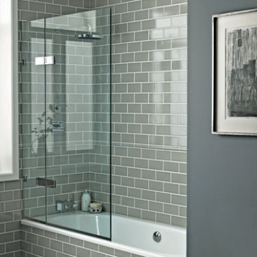 Grey and White tiles (Fired Earth) Bath Screens - Shower Enclosures - Shop by type - Bathrooms | Fired Earth