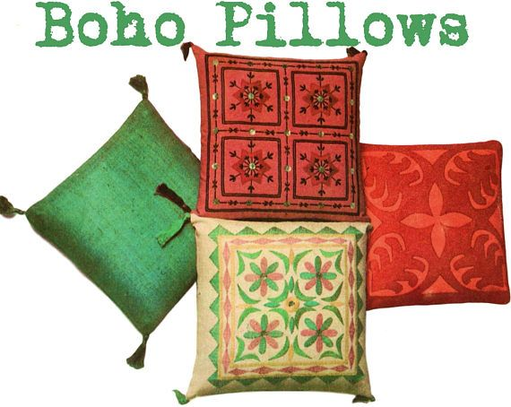 Boho Pillow Pattern Suzani Pillow Applique Pillow Vintage