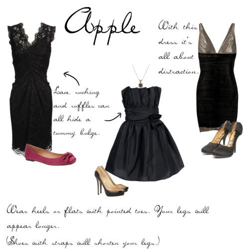 Little Black Dresses for Apple Shaped women. Check out the blog for all other body types!