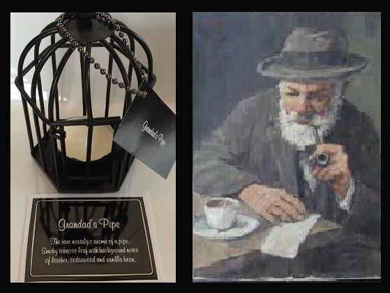 Grandad's Pipe. The rare nostalgic aroma of a pipe. Smoky tobacco, cedarwood and vanilla bean. Triple scented soy tealight candles, in attractive birdcage. Perfect for that special gift for family or friends, or to evoke wonderful memories for yourself $US10.86