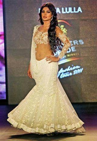 Priyanka Chopra wearing Neeta Lullas White Lehenga Saree with Designer Blouse