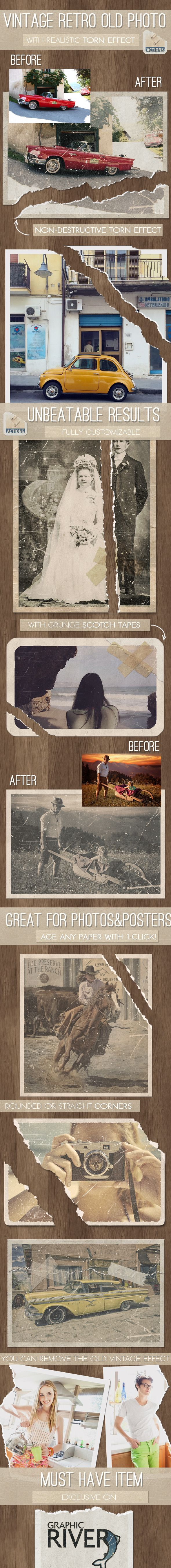 Old Photo with Torn Ripped Effect Photoshop Action — Layered PSD #torn photoshop effect #worn photo effect • Available here → https://graphicriver.net/item/old-photo-with-torn-ripped-effect-photoshop-action/12406934?ref=pxcr