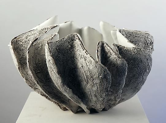 Koike Shoko - Open-mouthed, pleated shell-shaped sculpture with creamy white glazed interior with center pool of crackled glass glaze and rough,  crosshatched exterior