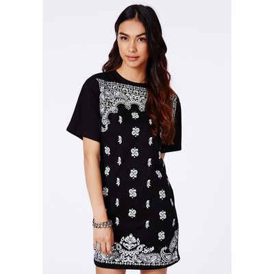 Missguided Black Paisley Print Oversized Dress
