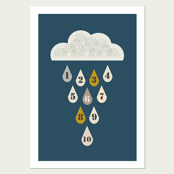 Raindrops 1-10 Kids Wall Art print (Blue Background)   This little raindrops print was designed to help your little one with numbers 1 to 10