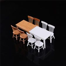 1:12 Wooden Kitchen Dining Table With 4 Chairs Set Barbie Dollhouse Furniture MW