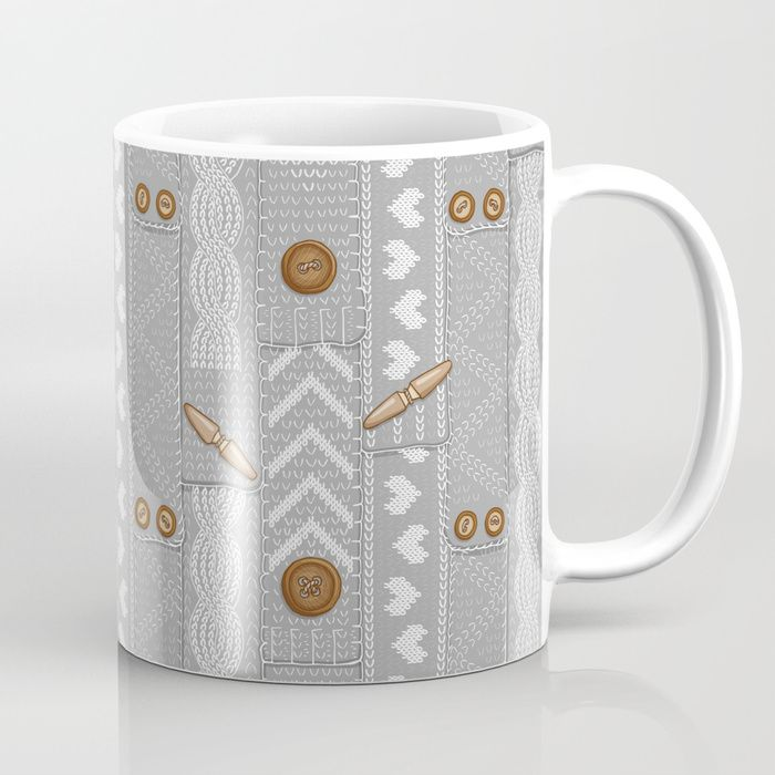 Available in 11 and 15 ounce sizes, our premium ceramic coffee mugs feature wrap-around art and large handles for easy gripping. Dishwasher and microwave safe, these cool coffee mugs will be your new favorite way to consume hot or cold beverages. #Scarves #Scarf #Knitted #Buttons #Buttoned #Cozy #Hygge #Wool #Gray #Mia #miavaldez #society6 #Coffee #Mug