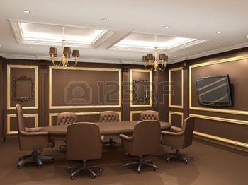 cielo raso: Mesa de conferencia en el espacio interior de la oficina real. Apartamento de estilo antiguo