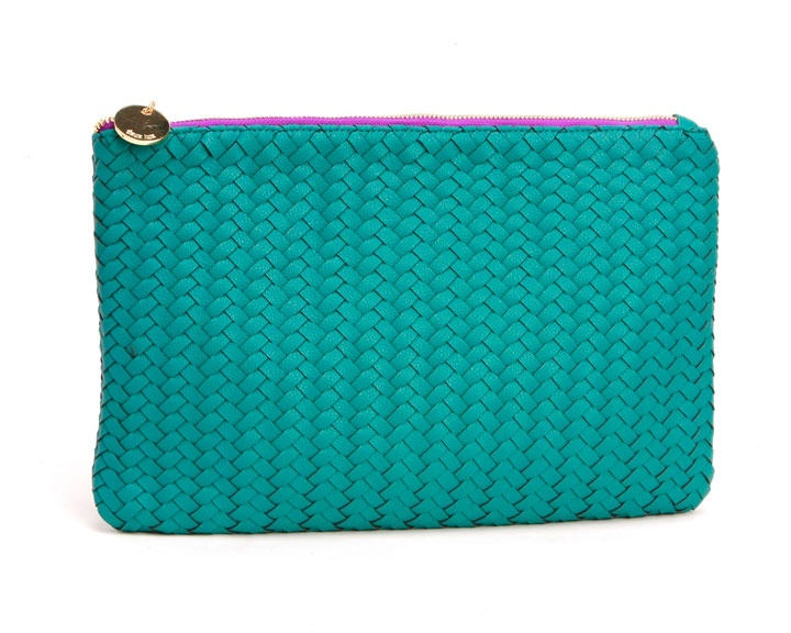 Portofino Zip Clutch in Teal - Deux Lux // vegan