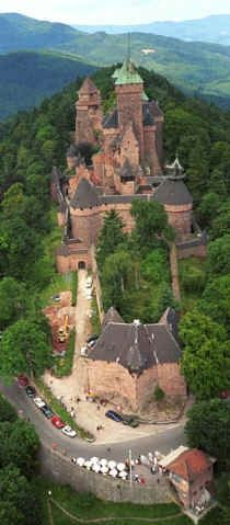 The château du Haut-Kœnigsbourg (German Hohkönigsburg) is located at Orschwiller, Alsace, France, in the Vosges mountains just west of Sélestat. The castle is situated in a strategic location on a rocky spur overlooking the Alsatian plain; as a result it was used by successive powers from the Middle Ages until the Thirty Years' War when it was abandoned. From 1900 to 1908 it was restored under the direction of Emperor Wilhelm II.