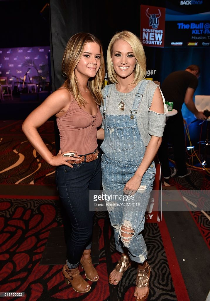 Musician Maren Morris (L) and singer/songwriter Carrie Underwood attend Westwood One Presents #WWOBackstage @ 51st ACMs at MGM Grand Garden Arena on April 2, 2016 in Las Vegas, Nevada.