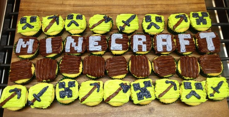 Minecraft cupcakes for teen boy birthday.