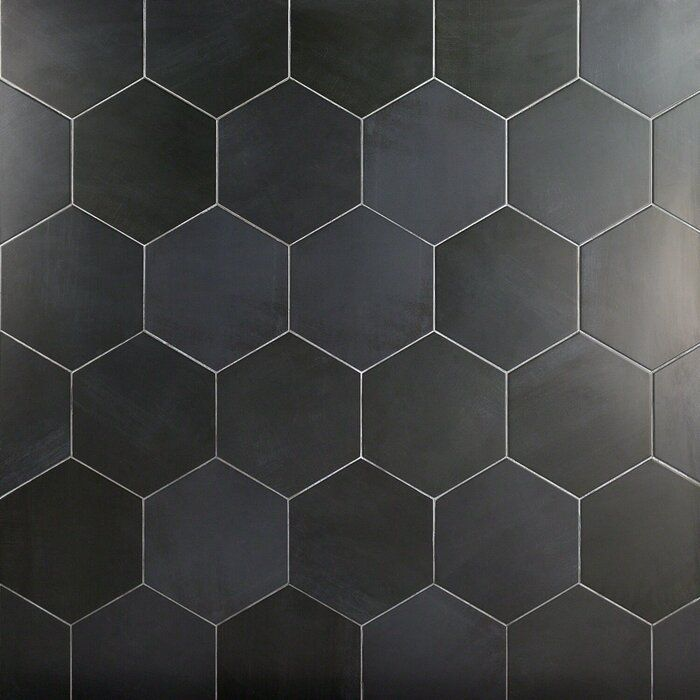Langston 10 X 11 Porcelain Concrete Look Wall Floor Tile In 2020 Black Hexagon Tile Hexagon Tiles Bathroom Floor Tiles
