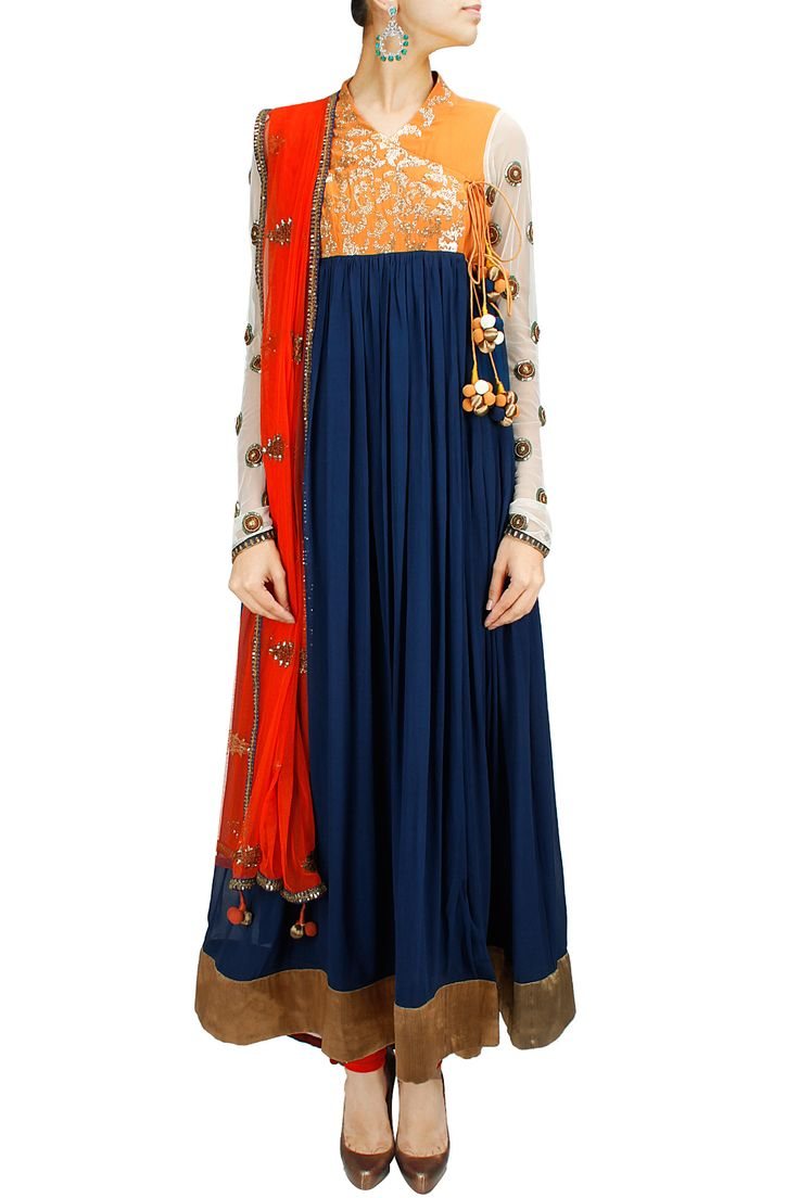 Blue and mustard angrakha anarkali set BY JOY MITRA. Shop now at: http://www.perniaspopupshop.com/whats-new #perniaspopupshop #joymitra #designer #ethnic #stunning #updates #fashion #style #happyshopping