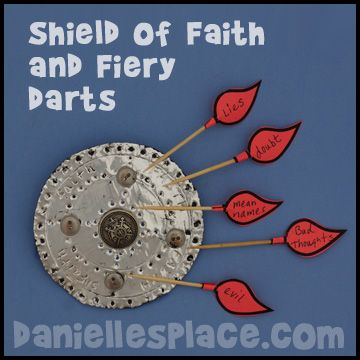 Shield of Faith and Satan's Fiery Darts Bible Craft from www.daniellesplace.com. This craft is great for VBS because it cost less than 20 cents each.