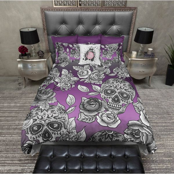 Lightweight Sugar Skull Bedding Purple Ombre Skull and Rose Print... ($119) ❤ liked on Polyvore featuring home, bed & bath, bedding, duvet covers, grey, home & living, california king bedding, full bed set, full size bed sets and king bedding sets