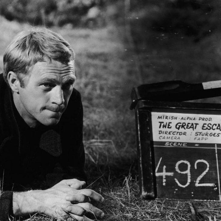 """Steve McQueen en el rodaje de """"La Gran Evasión"""" (The Great Escape), 1963"""