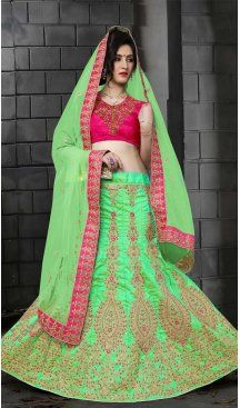 Mint Green Color Silk Embroidery A Line Designer Lehenga | FH586786365