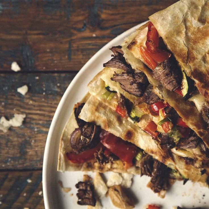 Beef Carnitas and Roasted Veg Quesadillas – Olive the Senses
