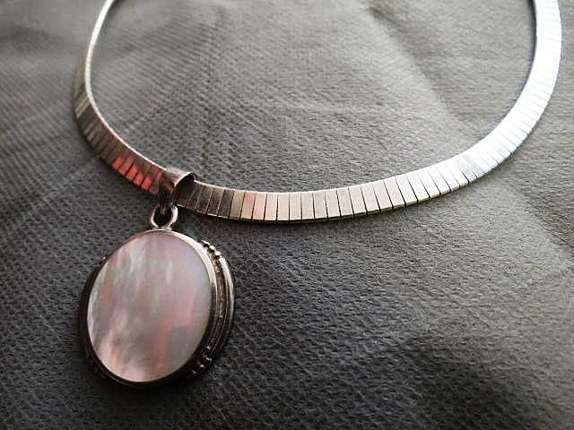 Sterling Silver mother Pearl Necklace with Pendant from 2271668 on Ruby Lane