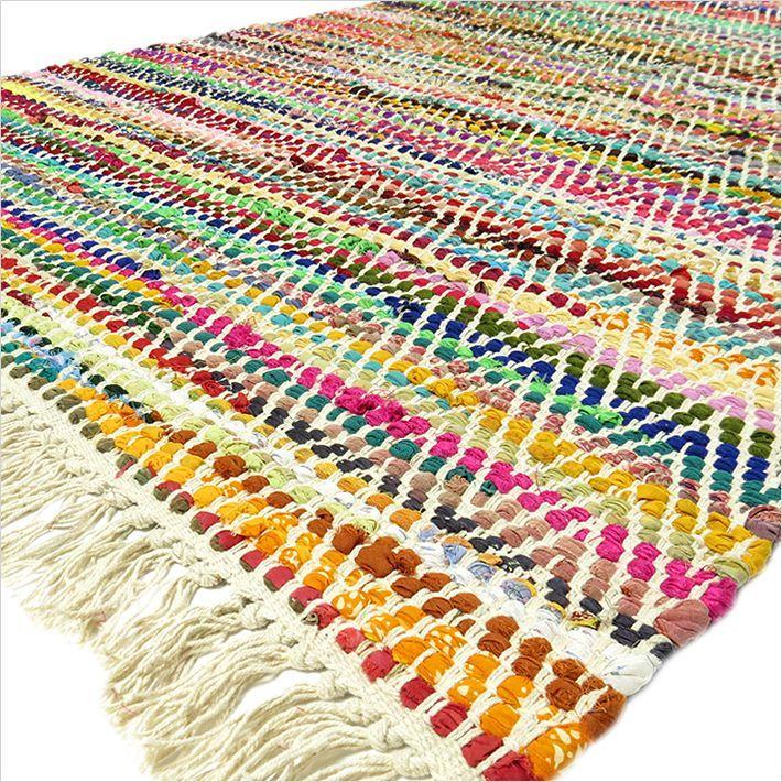 Multicolor White Chindi Woven Rag Rug - 3 X 5' | Chindi Rag Rugs | Eyes of India